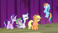 Rainbow Dash's friends scowling at her S8E7