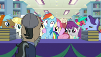 Rainbow and Fluttershy crowded by fans S9E21