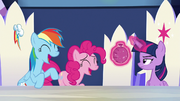 Rainbow and Pinkie Pie laughing loudly S6E15