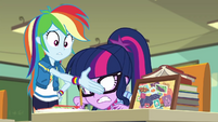 Rainbow waves her hand in Twilight's face EGDS22