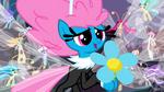 Seabreeze giving Fluttershy a flower S4E16