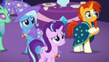 Starlight, Trixie, and Sunburst look concerned S7E1.png