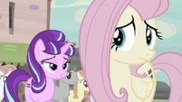 Starlight smiling while Fluttershy worried S5E02