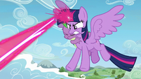 Twilight Sparkle zapping magic beam S5E26
