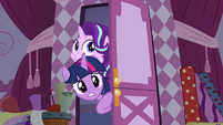 Twilight and Starlight enter Rarity's workroom S7E14