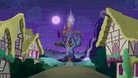 Castle of Friendship exterior nighttime S6E25