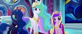 Celestia, Luna, and Cadance still staring blankly MLPTM