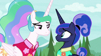 Celestia and Luna smile in agreement S9E13