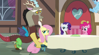 Discord pushing Fluttershy's chair S5E22