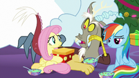 Fluttershy giving Discord a present MLPBGE