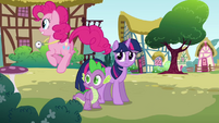 Pinkie Pie bouncing around Twilight and Spike S3E3