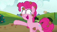 Pinkie Pie pointing off-screen at Tank S7E4
