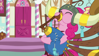 Pinkie playing yovidaphone outside Sugarcube Corner S8E18