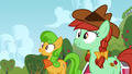 Ponies looking at the barn S3E8.png