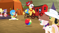 Ponies watching rodeo clowning S5E6.png