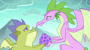 Spike's mother giving his egg to Sludge S8E24
