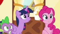 Spike, Twilight, and Pinkie hear Discord S5E22