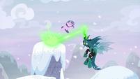 Starlight dodging Chrysalis' magic blast S9E24