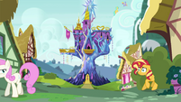 Sunset Shimmer backing into the bushes EGSB