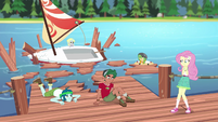 The campers' dock is destroyed EG4