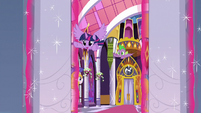Twilight and Spike fly into the throne room S9E4