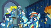 Wonderbolts holding broom and bucket S6E7