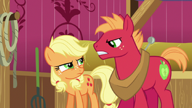 Young Applejack and Big McIntosh glare at each other S6E23