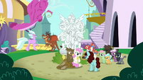 Creatures around statue of the Mane Six S9E26
