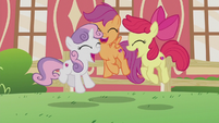 Cutie Mark Crusaders jumping for joy S5E18