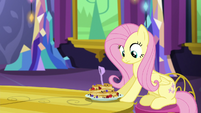 Measuring spoon lands in Fluttershy's pancakes S5E3