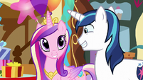 Shining Armor and Princess Cadance grinning S5E19
