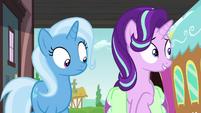 Trixie looks at Starlight's saddlebag S7E2