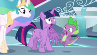 Twilight and Spike startled by Celestia S8E7