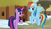 Twilight beckons her friends toward the hut S8E18