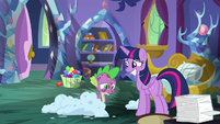 Twilight grins nervously; Spike discouraged S8E11