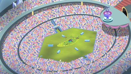 Visão aérea do estádio dos Jogos de Equestria T4E24