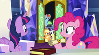 Applejack and friends enter the castle throne room S7E11