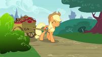 Applejack pulling a wagon full of apple brown bettys S4E10 (1)