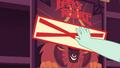 Cashier puts Sold Out sticker on Tirek's Revenge poster EGDS2.png