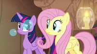 Fluttershy hears Dr. Horse cough bubbles S7E20
