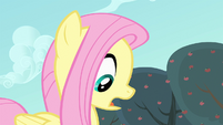 Fluttershy looking down at an apple S4E7