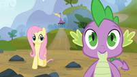 Fluttershy looks at Spike S3E09