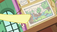 Fluttershy pointing at her sanctuary diagram S7E5