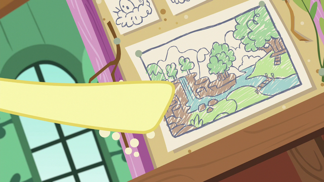 File:Fluttershy pointing at her sanctuary diagram S7E5.png