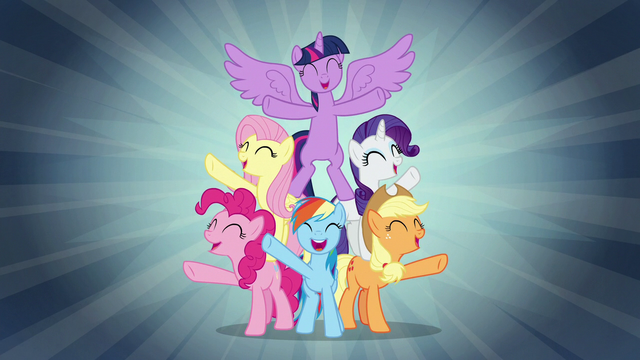 """File:Mane Six sing """"when we're with our team"""" S7E2.png"""
