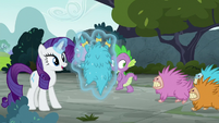 Puckwudgies chase Spike past Rarity S8E2