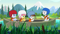 Rumble singing to campers in a canoe S7E21