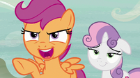 "Scootaloo ""let's see him compete with a song!"" S7E8"