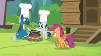 Scootaloo notices Thunderlane and Rumble cooking S7E21