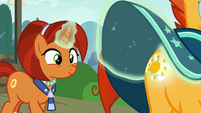 Stellar looking at Sunburst's glowing cutie mark S8E8